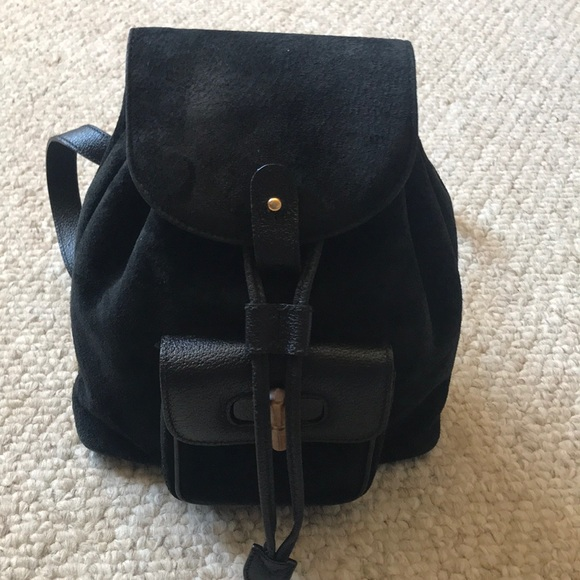 09987680 Black Suede Gucci Small Backpack